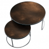 TGN-020700 Bornze - Heavy Aged Mirror - Round Nesting Coffee Table Set